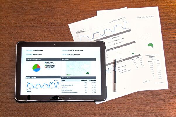 Analytical data on a tablet and paper