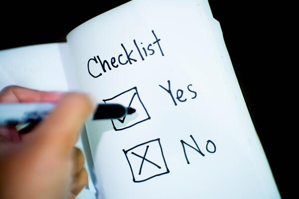 Checklist with yes and no boxes