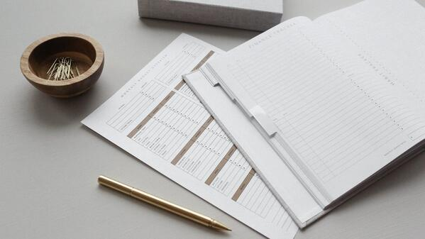 Finance planner and notebook