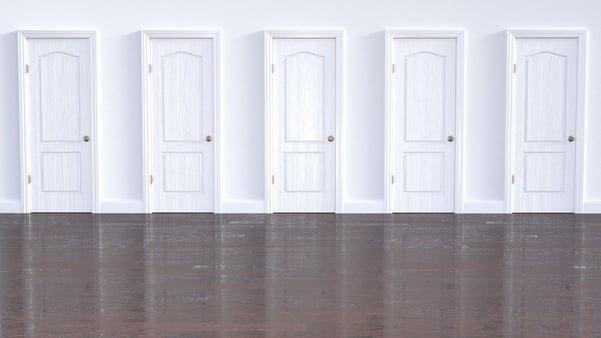Five white doors