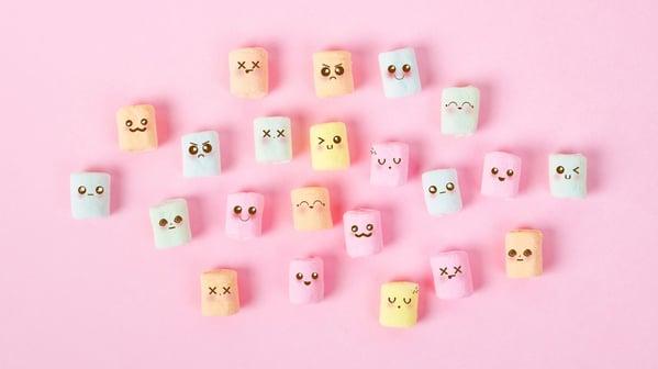 Marshmallow smiley faces