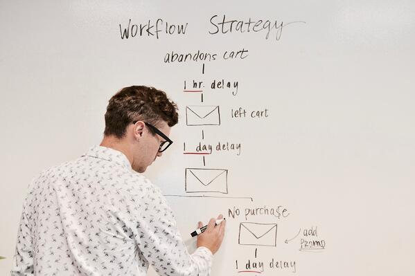 Person writing automated workflow strategy