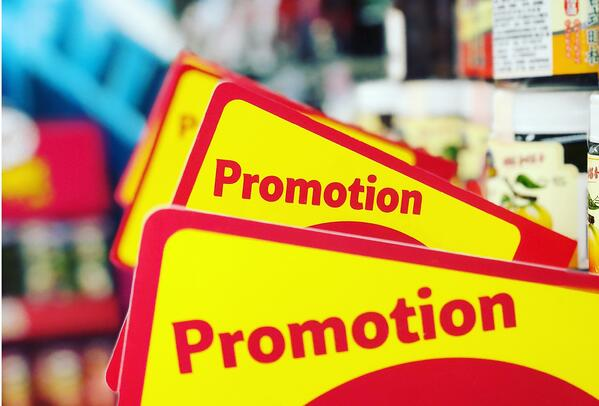 Promotional signs at a store