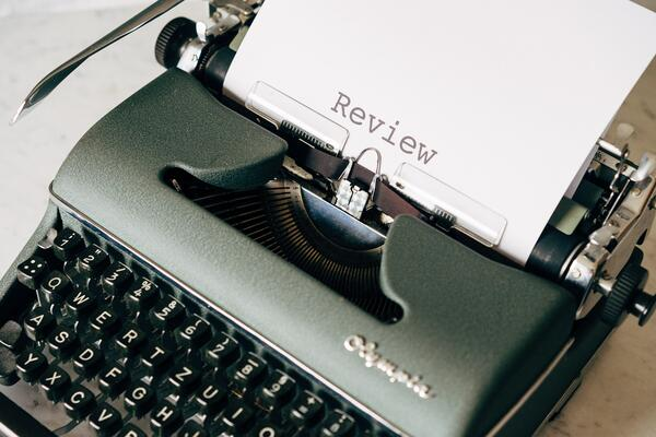 Typewriter with review paper