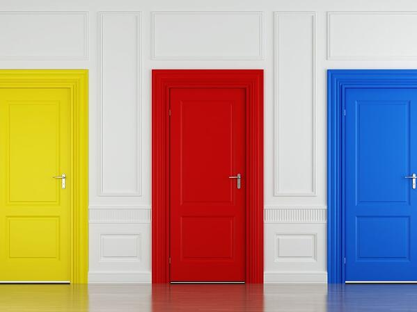 Yellow red and blue doors
