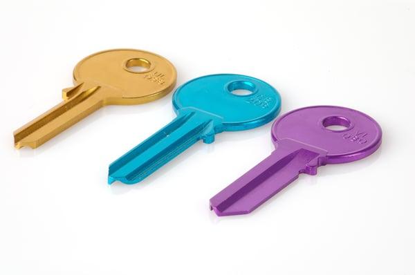 Yellow, blue and purple keys