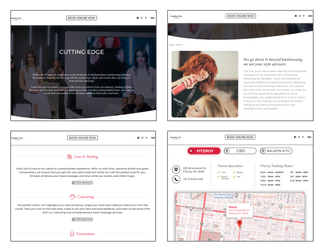 Heading Out Website Examples